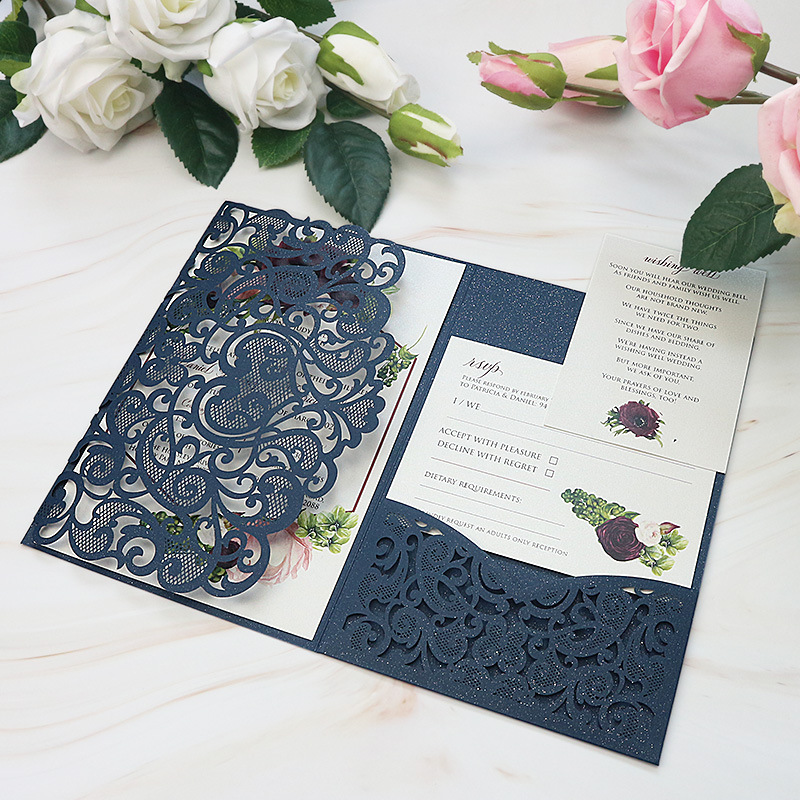 Traditional Navy Shimmer Laser Cut Wedding Invitations with Refreshing Greenery Inner Design