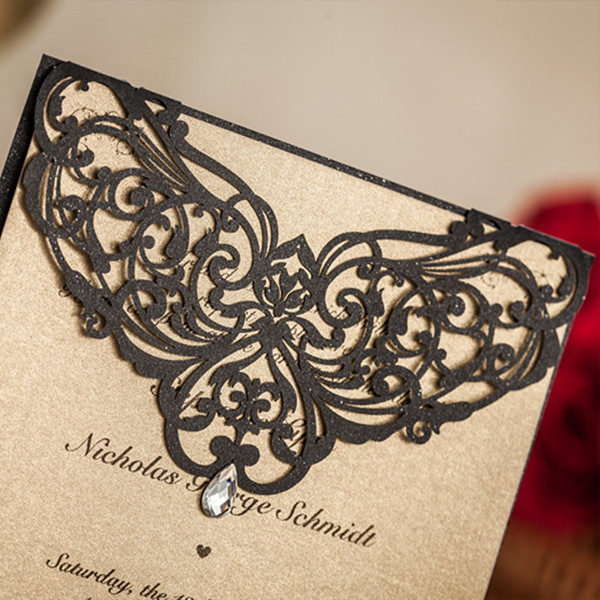 Traditional black and brown laser cut wedding invitations LC024