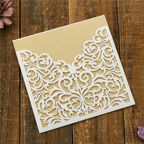 Traditional white laser cut pocket wedding invites with gold inner cards LC051