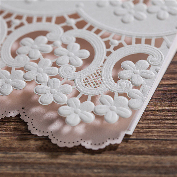 Unique white lace laser cut wedding invitations LC031