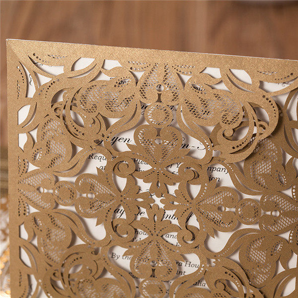 Vintage brown laser cut folded wedding invitations LC019