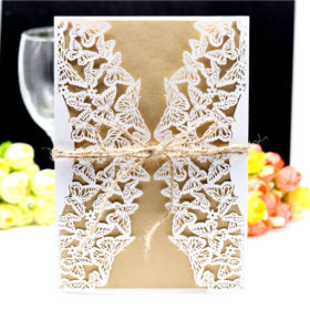 white lace butterfly laser cut wedding invitations with hemp cord LC062